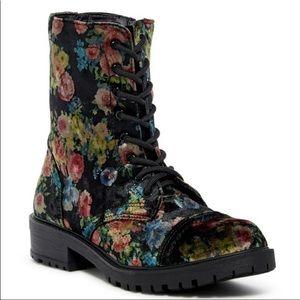 Steve Madden Girl Floral Velvet Combat Boots